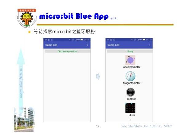 shapethefuture  等待探索micro:bit之藍牙服務 micro:bit Blue App 4/7 53 Wu, ShyiShiou Dept. of E.E., NKUT