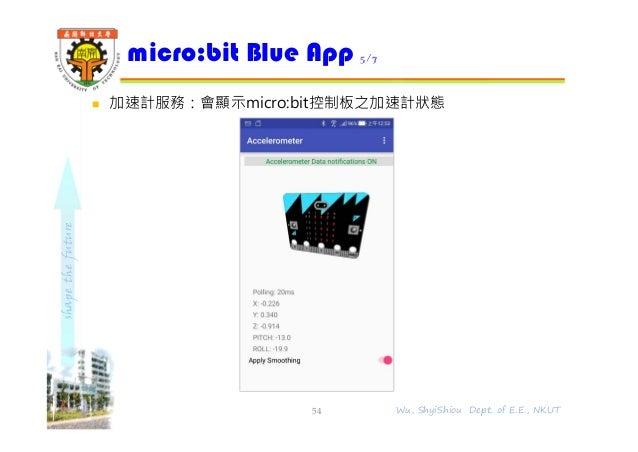 shapethefuture  加速計服務:會顯示micro:bit控制板之加速計狀態 micro:bit Blue App 5/7 54 Wu, ShyiShiou Dept. of E.E., NKUT