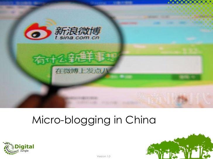 Micro-blogging in China            Version 1.0
