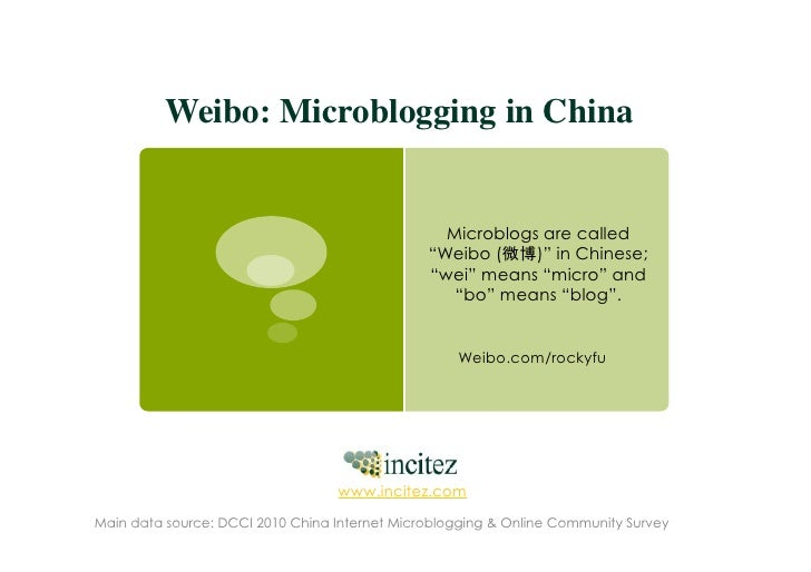 Weibo: Microblogging in China                                                 Microblogs are called                      ...