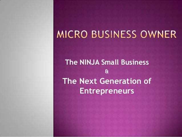 The NINJA Small Business           &The Next Generation of    Entrepreneurs