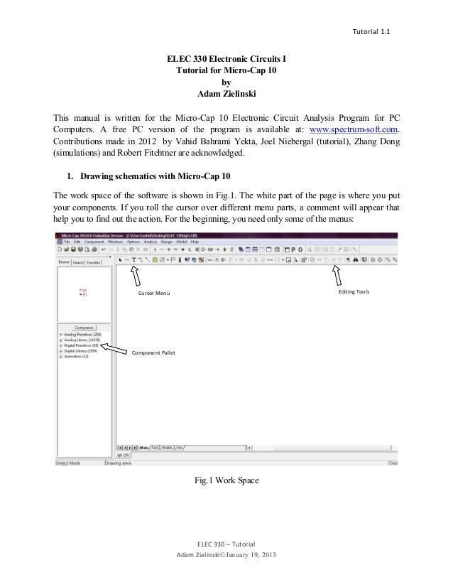Tutorial 1.  ELEC 330 – Tutorial Adam Zielinski©January 19, 2013 1 ELEC 330 Electronic Circuits ITutor...