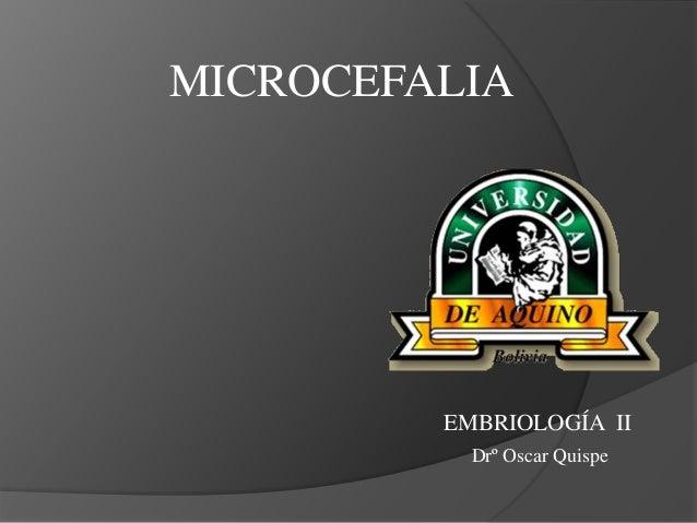 MICROCEFALIA EMBRIOLOGÍA II Drº Oscar Quispe