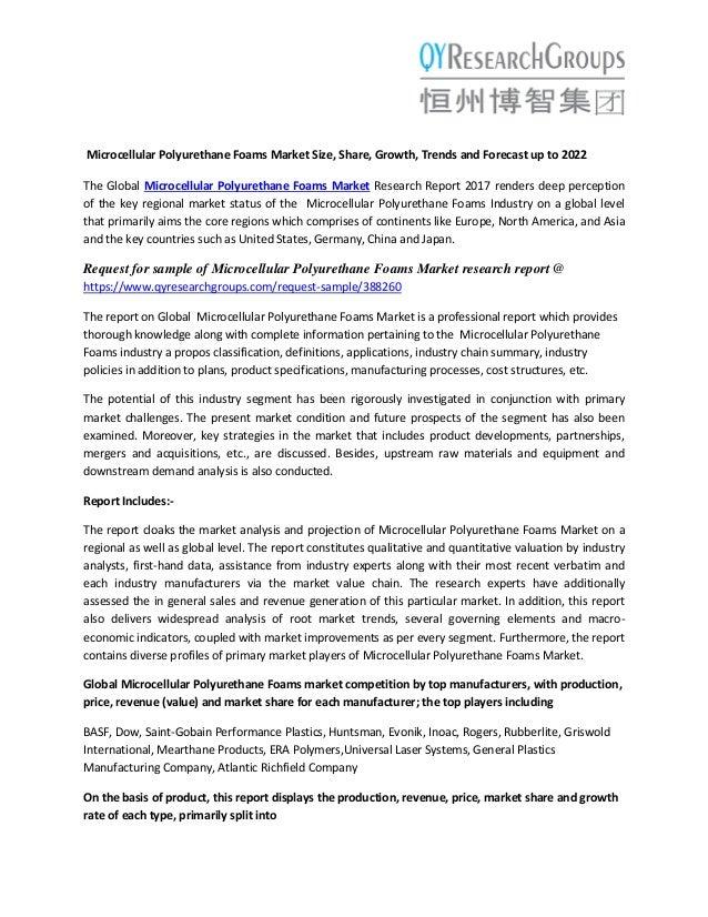 Microcellular Polyurethane Foams Market 2022 Technology