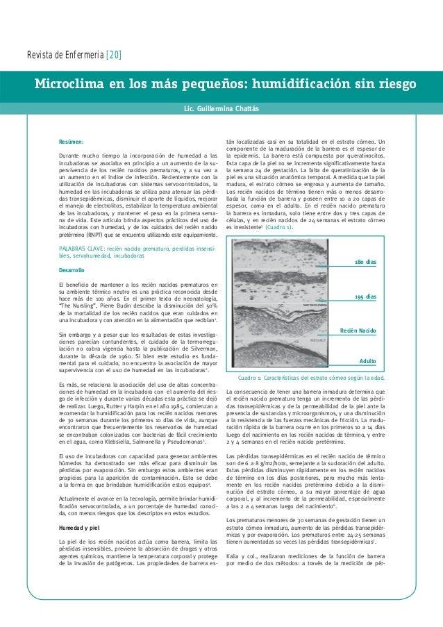 Revista de Enfermeria [20] Microclima en los más pequeños: humidificación sin riesgo Lic. Guillermina Chattás Resúmen: Dur...