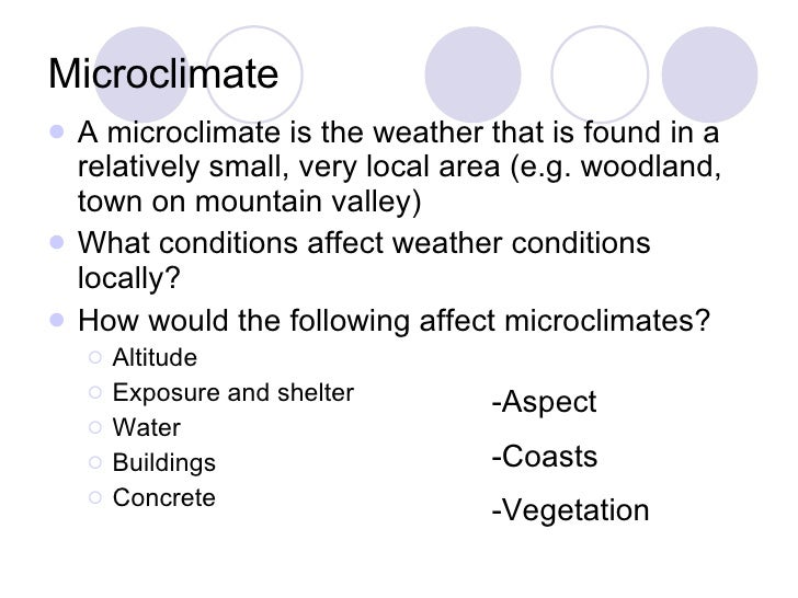 Microclimate <ul><li>A microclimate is the weather that is found in a relatively small, very local area (e.g. woodland, to...
