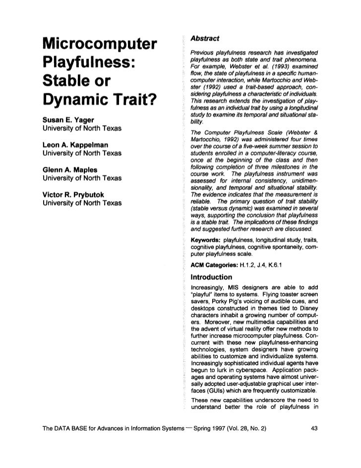 AbstractMicrocomputer                                          Previous playfulness research has investigatedPlayfulness: ...
