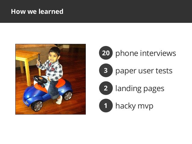 How we learnedphone interviews20paper user tests3landing pages2hacky mvp1