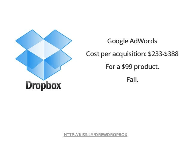 HTTP://KISS.LY/DREWDROPBOXGoogle AdWordsCost per acquisition: $233-$388For a $99 product.Fail.