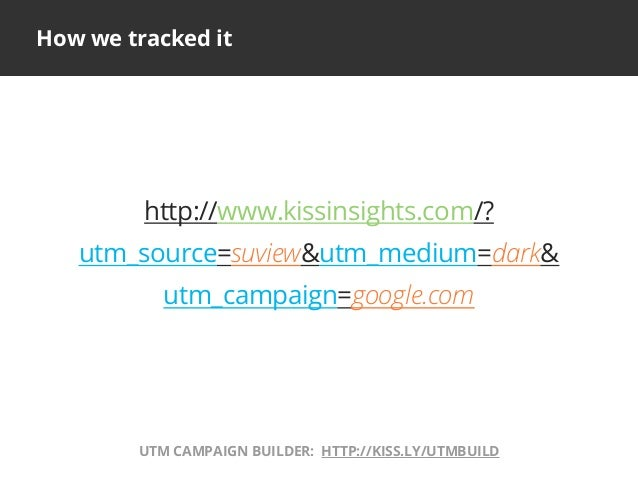 How we tracked ithttp://www.kissinsights.com/?utm_source=suview&utm_medium=dark&utm_campaign=google.comUTM CAMPAIGN BUILDE...