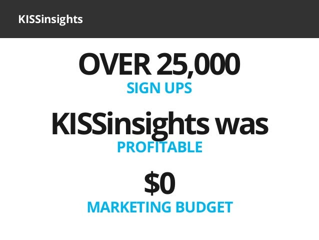 KISSinsightsKISSinsightswasPROFITABLE$0MARKETING BUDGETOVER25,000SIGN UPS