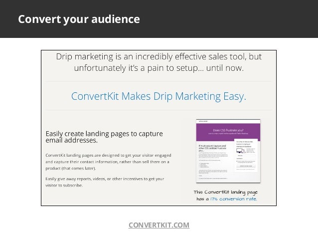Convert your audienceCONVERTKIT.COM