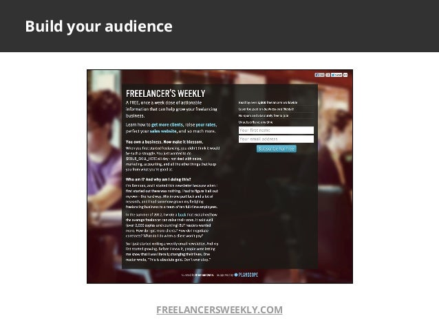 Build your audienceFREELANCERSWEEKLY.COM