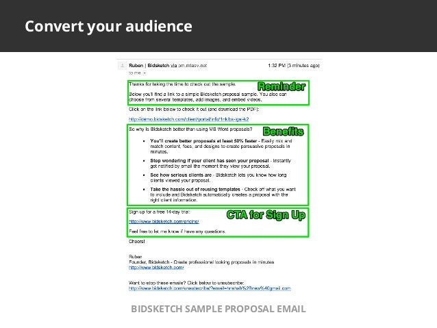 Convert your audienceBIDSKETCH SAMPLE PROPOSAL EMAIL