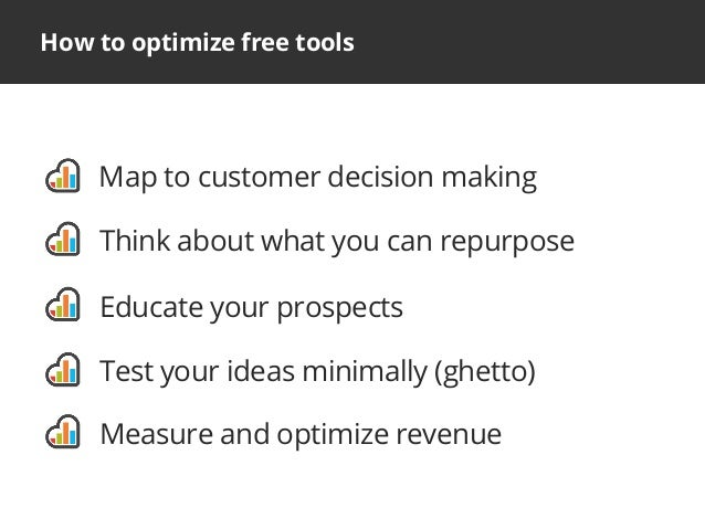 How to optimize free toolsMap to customer decision makingThink about what you can repurposeEducate your prospectsTest your...
