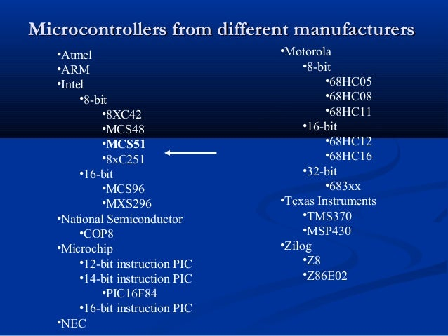 Microcontrollers from different manufacturersMicrocontrollers from different manufacturers•Atmel•ARM•Intel•8-bit•8XC42•MCS...