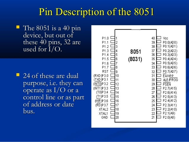 Pin Description of the 8051Pin Description of the 8051 The 8051 is a 40 pinThe 8051 is a 40 pindevice, but out ofdevice, ...