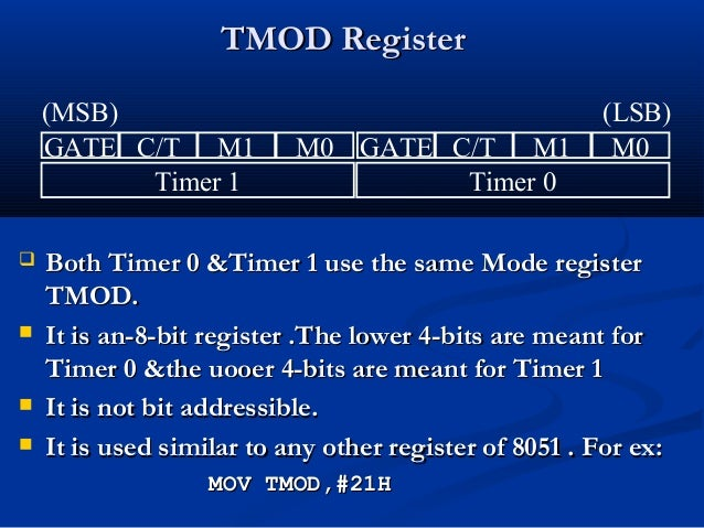 TMOD RegisterTMOD Register Both Timer 0 &Timer 1 use the same Mode registerBoth Timer 0 &Timer 1 use the same Mode regist...