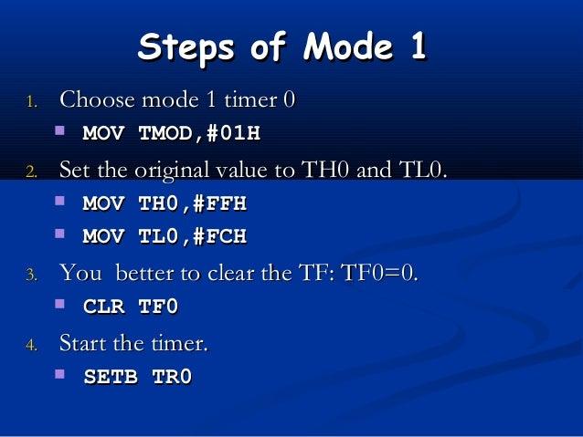 Steps of Mode 1Steps of Mode 11.1. Choose mode 1 timer 0Choose mode 1 timer 0 MOV TMOD,#01HMOV TMOD,#01H2.2. Set the orig...