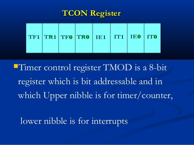TCON RegisterTCON RegisterTimer control register TMOD is a 8-bitregister which is bit addressable and inwhich Upper nibbl...
