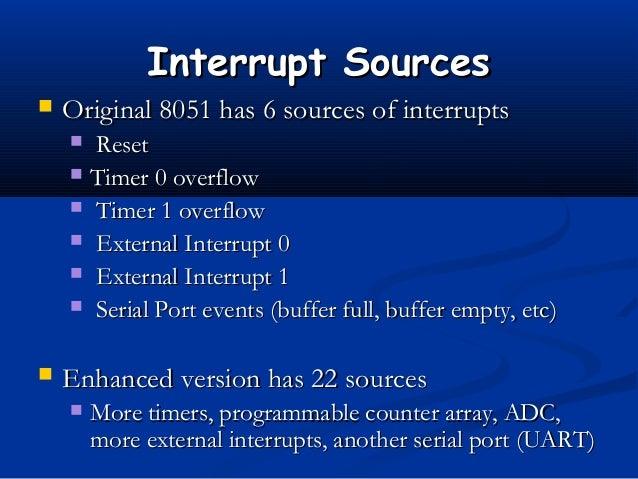 Interrupt SourcesInterrupt Sources Original 8051 has 6 sources of interruptsOriginal 8051 has 6 sources of interrupts Re...