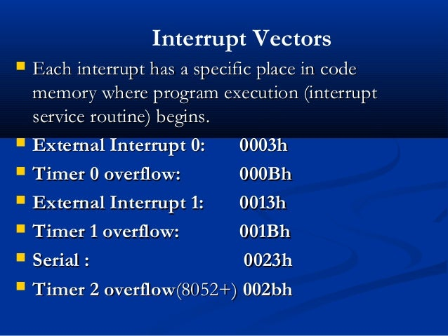  Each interrupt has a specific place in codeEach interrupt has a specific place in codememory where program execution (in...