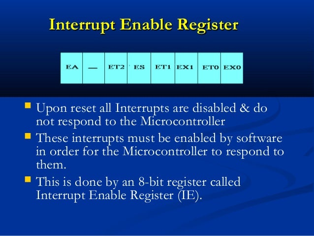 Interrupt Enable RegisterInterrupt Enable Register Upon reset all Interrupts are disabled & donot respond to the Microcon...