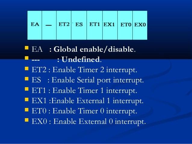  EA : Global enable/disable. --- : Undefined. ET2 : Enable Timer 2 interrupt. ES : Enable Serial port interrupt. ET1 ...