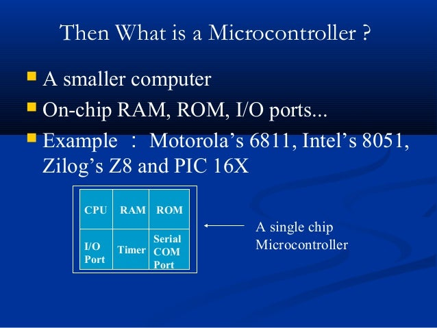 Then What is a Microcontroller ? A smaller computer On-chip RAM, ROM, I/O ports... Example : Motorola's 6811, Intel's 8...