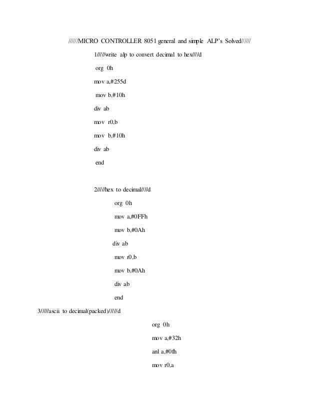 Program To Convert Hex To Ascii In 8051 - softmoremedi