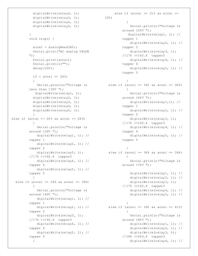 digitalWrite(relay2, 1); digitalWrite(relay3, 1); digitalWrite(relay4, 1); digitalWrite(relay5, 1); } void loop() { acval ...