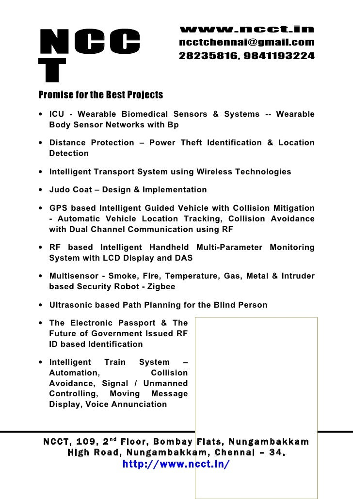 Microcontroller Project Titles, 2009 2010 Ncct Final Year Projects