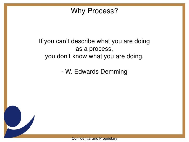 Why Process?<br />If you can't describe what you are doing <br />as a process,<br />you don't know what you are doing.<br ...