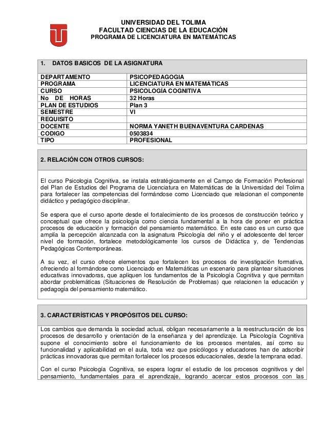 UNIVERSIDAD DEL TOLIMA FACULTAD CIENCIAS DE LA EDUCACIÓN PROGRAMA DE LICENCIATURA EN MATEMÁTICAS 3. CARACTERÍSTICAS Y PROP...