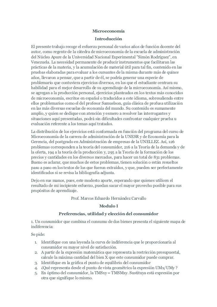Microeconomía                                     IntroducciónEl presente trabajo recoge el esfuerzo personal de varios añ...