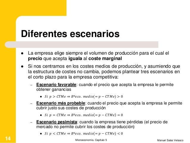 Diferentes escenarios  La empresa elige siempre el volumen de producción para el cual el precio que acepta iguala al cost...