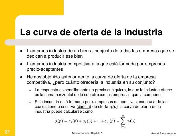 La curva de oferta de la industria  Llamamos industria de un bien al conjunto de todas las empresas que se dedican a prod...