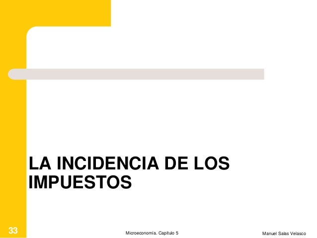 LA INCIDENCIA DE LOS IMPUESTOS Manuel Salas VelascoMicroeconomía. Capítulo 533