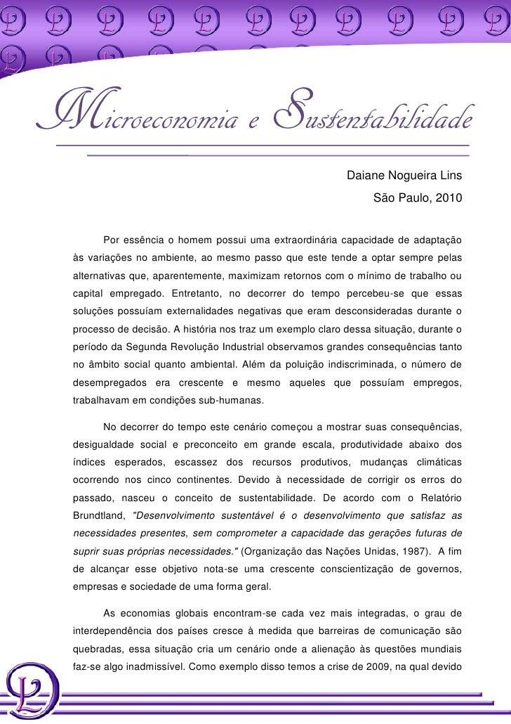 Microeconomia e Sustentabilidade                                                             Daiane Nogueira Lins         ...