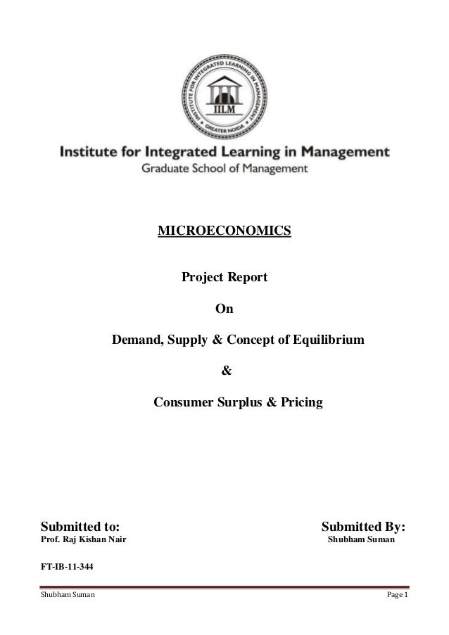 MICROECONOMICS                            Project Report                                 On                 Demand, Supply...