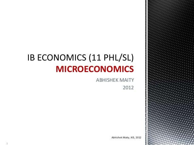 ABHISHEK MAITY 2012 MICROECONOMICS Abhishek Maity, KIS, 2012 1