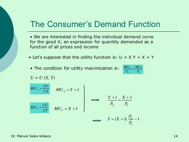 The Consumer's Demand Function Y Y X X P MU P MU  X U MUX    Y U MUY    • We are interested in finding the individu...