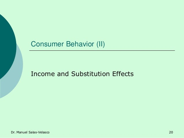 Consumer Behavior (II) Income and Substitution Effects Dr. Manuel Salas-Velasco 20