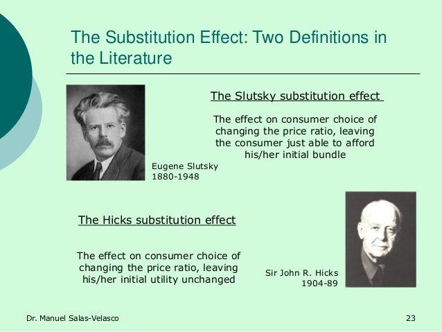The Substitution Effect: Two Definitions in the Literature Eugene Slutsky 1880-1948 Sir John R. Hicks 1904-89 The Slutsky ...