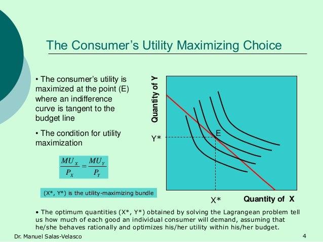 The Consumer's Utility Maximizing Choice Quantity of X QuantityofY E • The consumer's utility is maximized at the point (E...