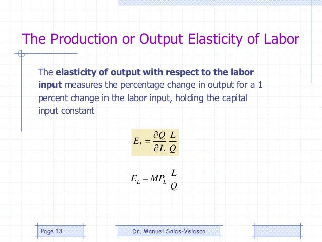 The Production or Output Elasticity of Labor Q L L Q EL    Q L MPE LL  The elasticity of output with respect to the la...
