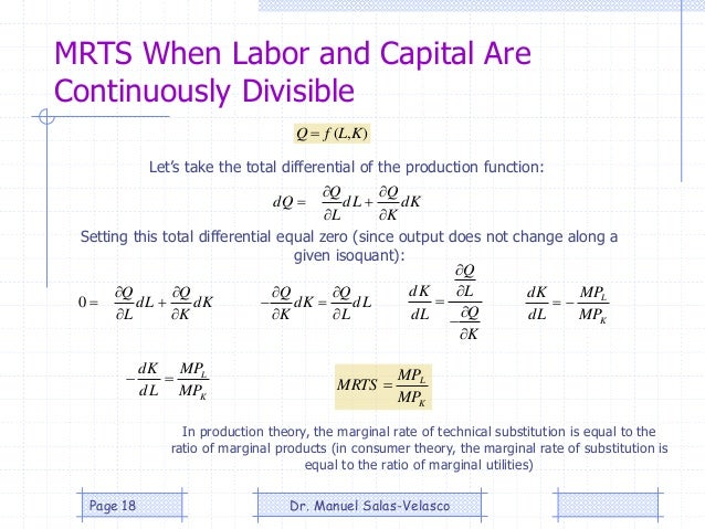 MRTS When Labor and Capital Are Continuously Divisible Kd K Q Ld L Q Qd       ),( KLfQ  Kd K Q Ld L Q      0 ...