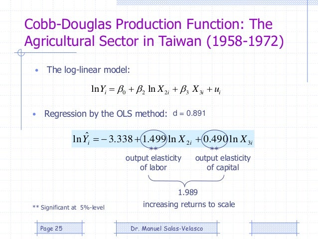 Cobb-Douglas Production Function: The Agricultural Sector in Taiwan (1958-1972) • The log-linear model: • Regression by th...
