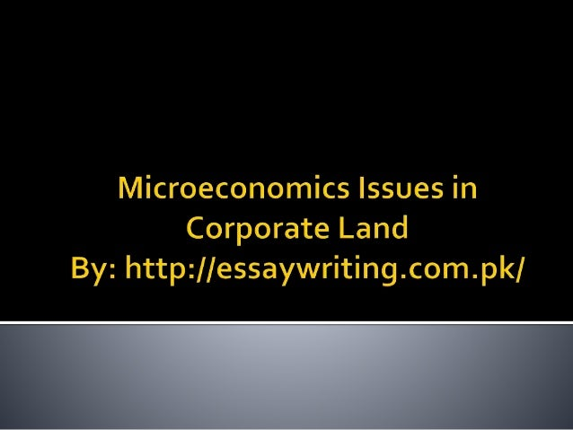 microeconomics issues in corporate land microeconomics is a branch of economics that refers the issues upon the causes of the