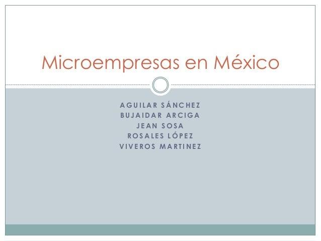 Microempresas en México AGUILAR SÁNCHEZ BUJAIDAR ARCIGA JEAN SOSA ROSALES LÓPEZ VIVEROS MARTINEZ